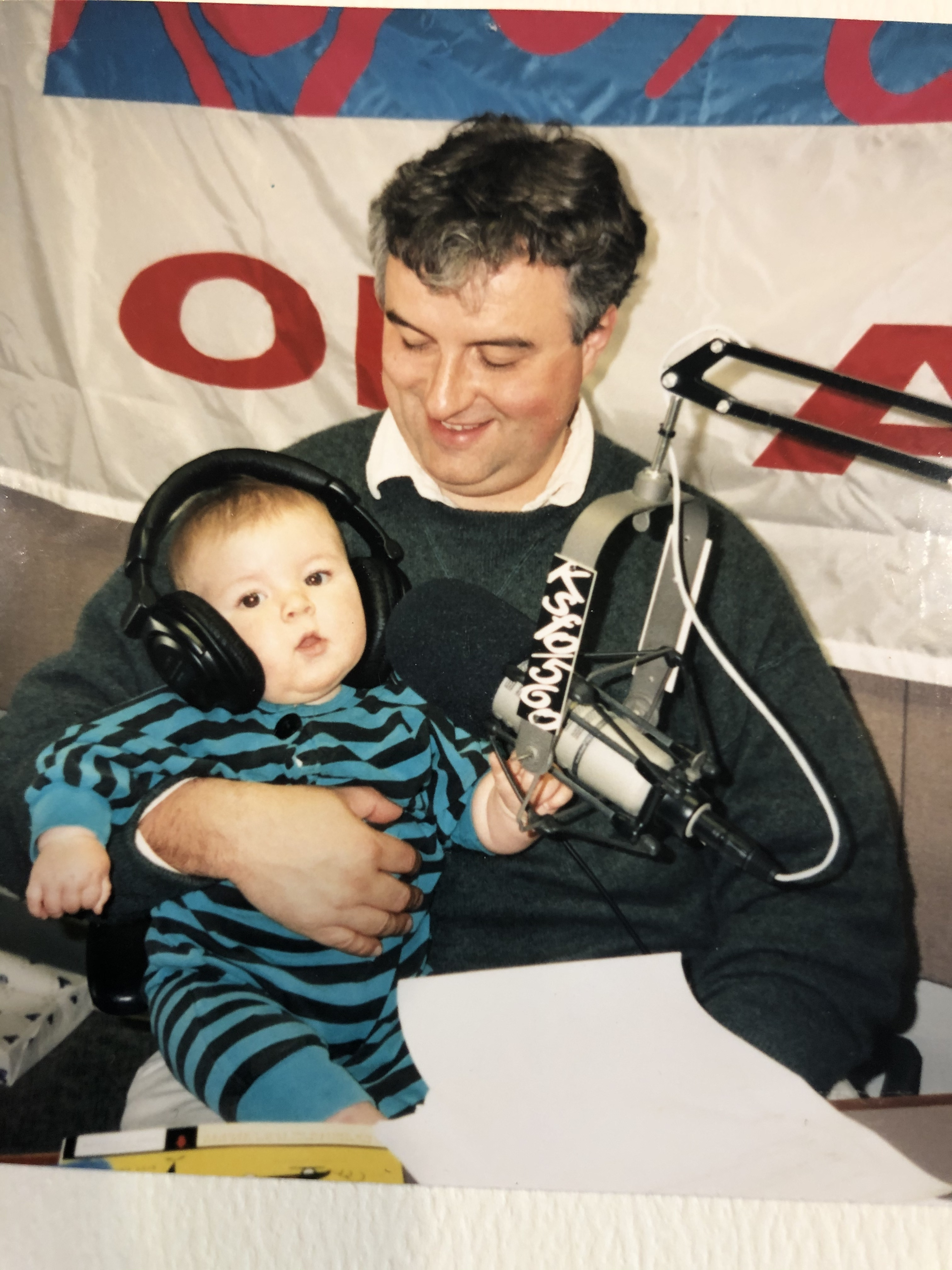 Leo teaching his baby boy how to broadcast, KSFO 1994
